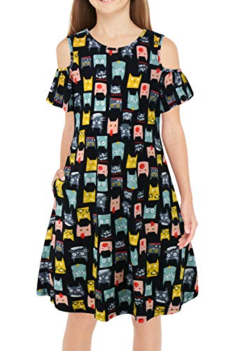 GORLYA Girl's Cold Shoulder Ruffle Sleeve Casual Loose Shift Swing Dress with Pockets 4-12 Years (GOR1004, 4-5Y, Black Cat)]()