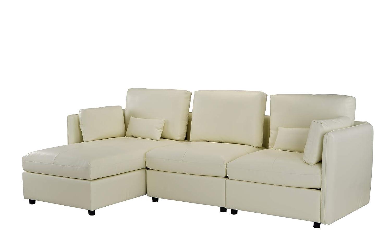 Amazon.com: Sofá de piel en forma de L para salón o salón ...