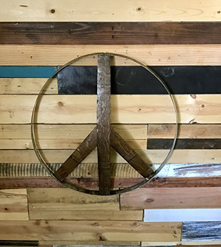 Rustic Wine Barrel Peace Sign (Barrel Stave Furniture)