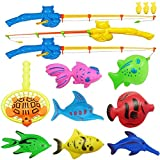 NiGHT LiONS TECH 12 Pcs Bath Toys Set Summer Beach Toy Magnetic Fishing Toys Waterproof Floating Fish Play Sets - Learning Education Toy Set Kids Toddlers