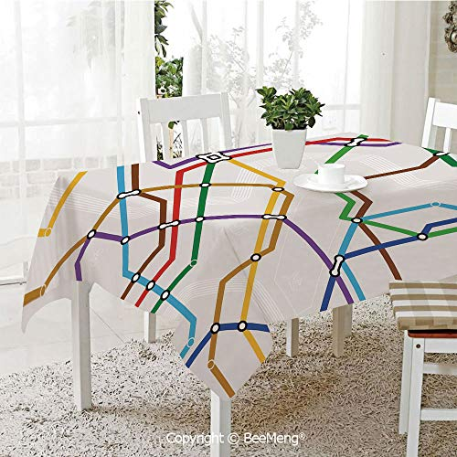 (BeeMeng Large Family Picnic Tablecloth,Easy to Carry Outdoors,Map,Stripes in Vibrant Colors Metro Scheme Subway Stations Abstract Railroad Transportation,Multicolor,59 x 104)