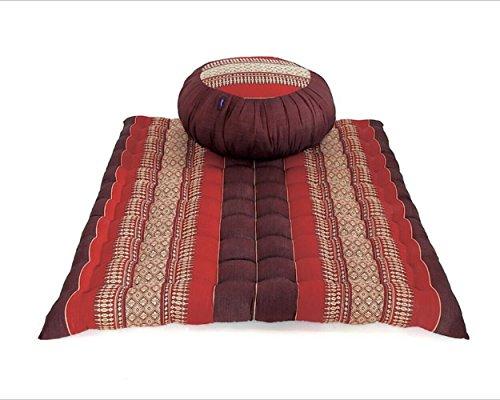Meditation Set: Zafu Cushion, Zabuton Mat, Kapok Fabric, 30x28x10 inches. (Dark Red - Red) by UnseenThailand Warehouse