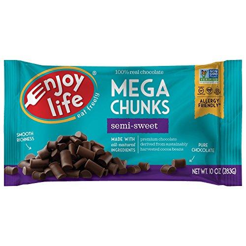 Enjoy Life Baking Chocolate, Soy free, Nut free, Gluten free, Dairy free, Non GMO, Vegan, Paleo, Semi Sweet Mega Chunks, 10 Ounce Bags (Pack of 6)
