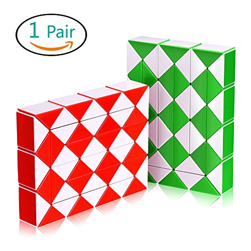 Snake Speed Cube Puzzle Toys 48Parts Twist Magic Ruler Cube Pack Hand Fidget Toy Games Set Holiday Christmas Gift for Kids Children Adults Friends | White