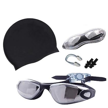 Anti Fog Adult Swimming Goggles Silicone Swim Cap Hat Ear Plugs Nose Clip Set