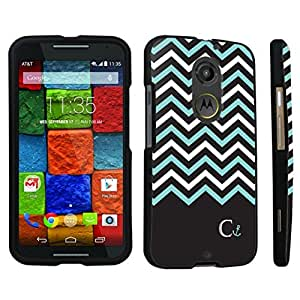 Zheng case Motorola Moto X 2nd Gen. 2014 Hard Case Black - (Black Mint White Chevron C)