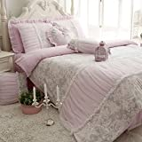 TideTex 100%Cotton Brushed Home Textiles 4pc Printing Lace Duvet Cover Top Grade Girls Fairy Bedding Sets Romantic Princess Bedding Set European Rural Style Bedding Sets (Full, Pink)