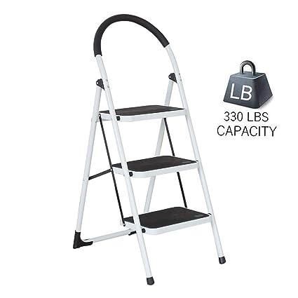 Astonishing Dporticus Portable Anti Slip 3 Step Ladder Folding Lightweight Steel Step Stool Platform 330Lbs Capacity Evergreenethics Interior Chair Design Evergreenethicsorg