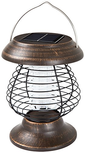 Wakeman Outdoor 2 in 1 Ultraviolet Mosquito Killer Bug Zapper and LED Tent or Patio Lantern - Portable, Rechargeable Solar Powered Nontoxic Light