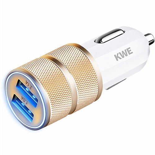 KWE 2.1A / 24W 2-Port Titanium Car Charger for iPhone 6 / 6S Plus / 5S / 5 / 4, iPad, Ipod, Samsung Galaxy, Smart Phones, Tablets (GOLD)
