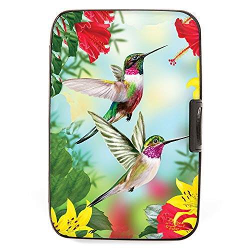 Fig Design Group Hummingbirds with Flower RFID Secure Theft Protection Credit Card Armored Wallet