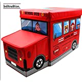 Inditradition Kids School Bus/Sitting Stool/Storage Box/Playing Toy (Multipurpose, Collapsible, Hard Cardboard, Size : 53X30X25 cm, (Red Color)