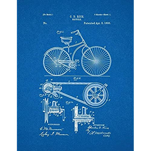 Blueprint artwork amazon bicycle patent print art poster blueprint 13 x 19 malvernweather Images