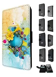 948 - cool cute fun flowers colourful art graffiti Design Huawei Ascend P7 Fashion Trend TPU Leather Flip Case Full Case Flip Credit Card TPU Leather Purse Pouch Defender Stand Cover