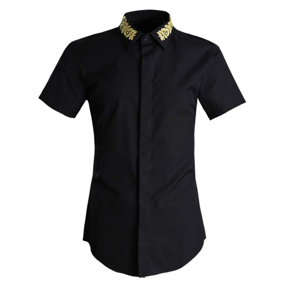 Noir grand Mebeauty Chemise d'été pour Hommes Chemise à Manches Courtes pour Hommes Chemise à Manches Courtes Chemise en Coton Coupe Classique Décontracté Manches Courtes (Couleur   Blanc, Taille   M)