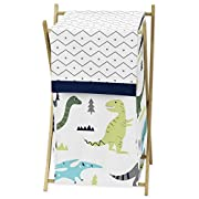 Sweet Jojo Designs Baby Children Kids Clothes Laundry Hamper for Blue and Green Modern Dinosaur Bedding Set