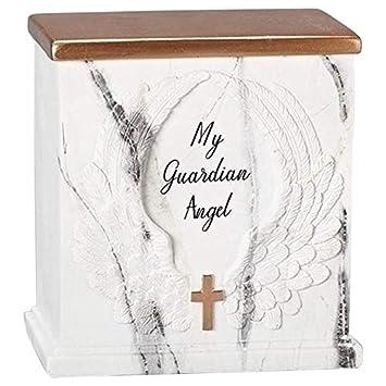 My Guardian Angel Cross White Marble Tone 6 x 6 Resin Decorative Memorial Urn