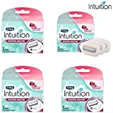 Schick Intuition Shaving Razor Refill Cartridge, 3 count, (4 Pack)