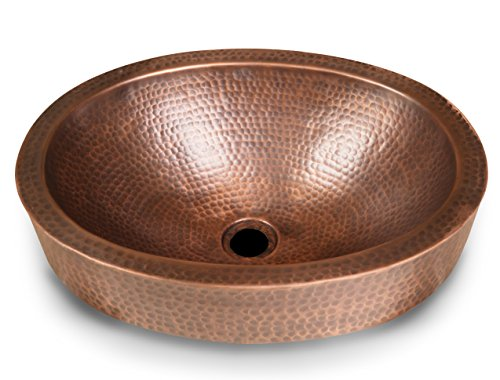 Monarch Pure Copper Hand Hammered Skirted Sink, 17 inches (Drop In or Vessel)