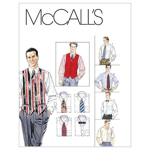 McCall's Patterns M2447 Men's Lined Vest, Shirt, Tie in Two Lengths and Bow Tie, Size Y -
