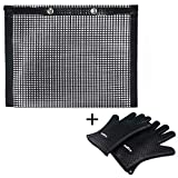 Aurora Originals Grill Bag Mesh BBQ Non-Stick Outdoor Grilling Picnic + Heat Resistant Gloves BBQ Kitchen Silicone Oven Mitts