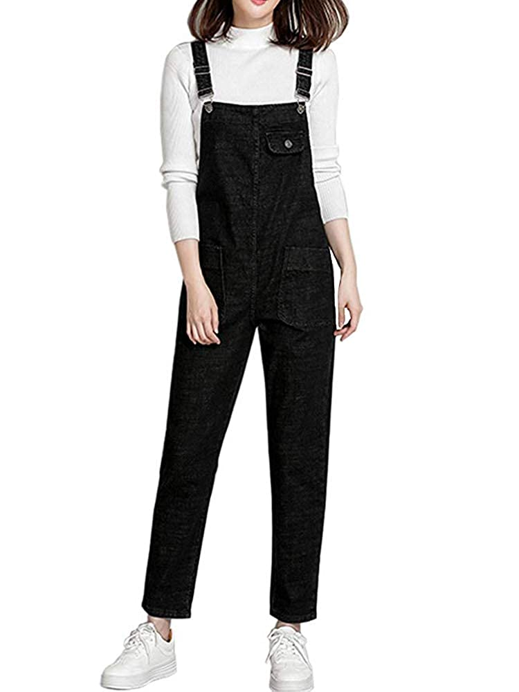 0b200fa2394 Amazon.com  Gooket Women s Regular Fit Denim Dungarees Casual Long Denim  Bib Overalls Jumpsuit Playsuit Jeans Pant Trousers  Clothing