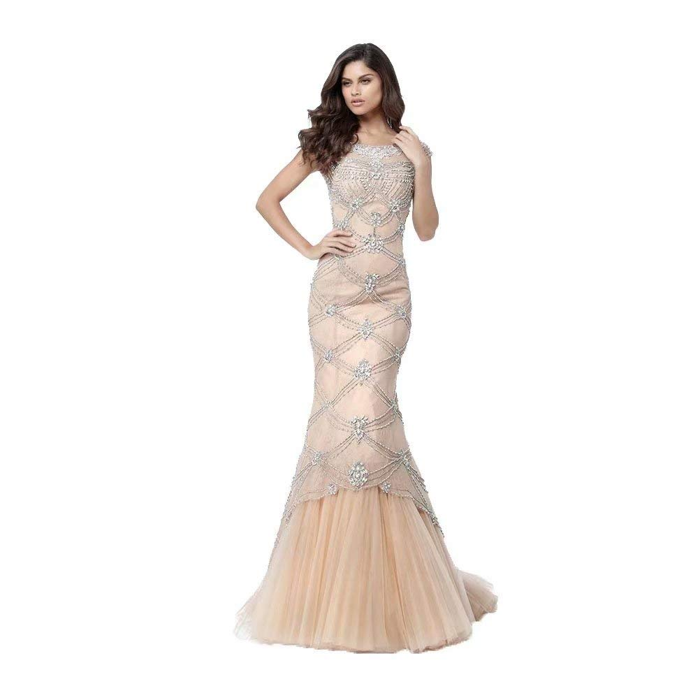Champagne Unions Women Beaded Long Mermaid Tulle Prom Dress Short Sleeves Backless Formal Evening Gown