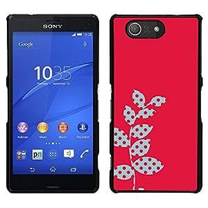 Caucho caso de Shell duro de la cubierta de accesorios de protección BY RAYDREAMMM - Sony Xperia Z3 Compact - Polka Dot Raster rosadas Hojas rojas