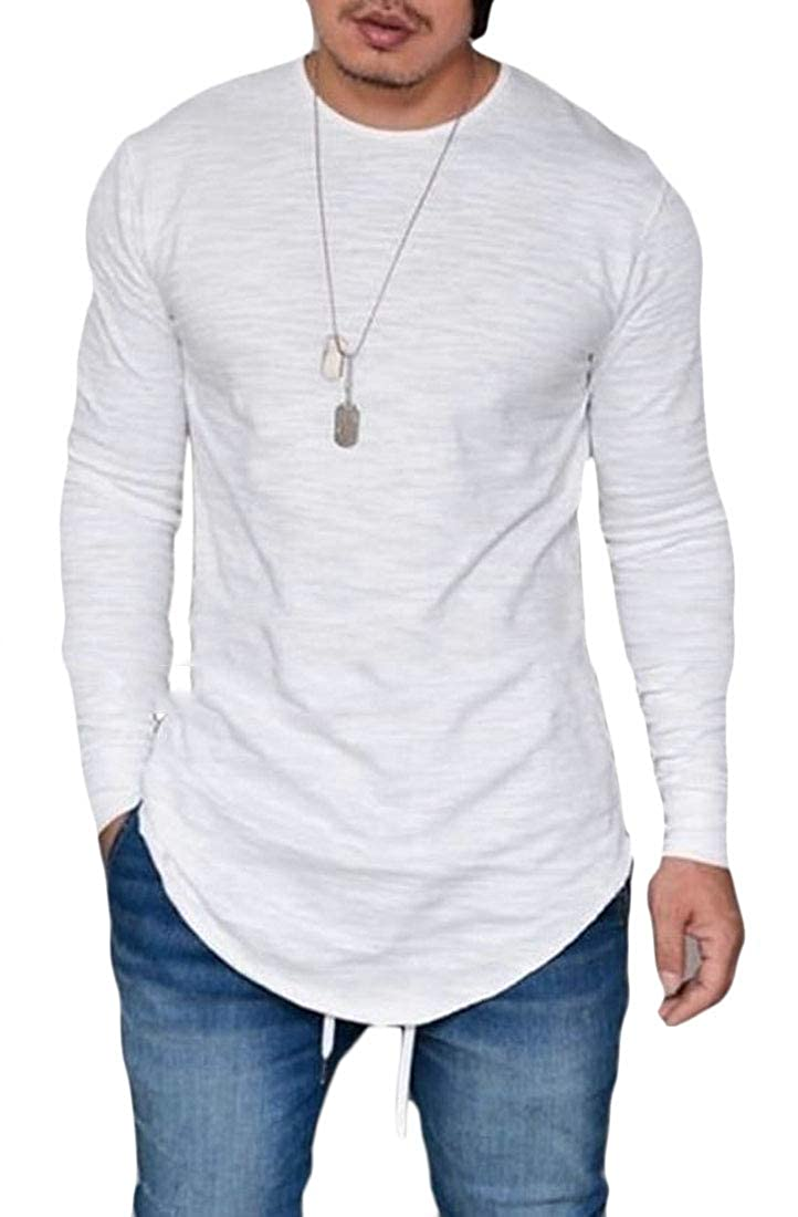 Domple Men Plus Size Casual Solid Round Neck Long Sleeve T-Shirt Tee Top