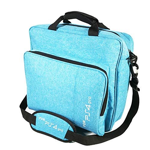 Game Blue Case - PS4 carrying case ps4 pro bag for xbox one vr travel case storage PS4 Slim controller playstation 4 accessories Multifunctional Waterproof Travel Carry Case Handbag games (Blue)
