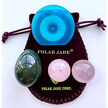 Image of Kegel Exercisers Kit Consisting of Nephrite Jade Yoni Egg, Rose Quartz Kegel Balls and Unwaxed String, for Women to Strengthen Pelvic Floor Muscles to Prevent Prolapse of Uterine and Bladder Bladder Control Devices