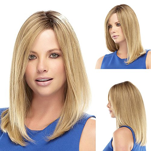(GNIMEGIL Long Straight Synthetic Hair Replacement Wigs Blonde Color Side Bangs Hairpieces for)