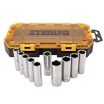 "DEWALT DWMT73814 Tough Box SAE Drive Deep Socket Set (10 Piece), 1/2"""