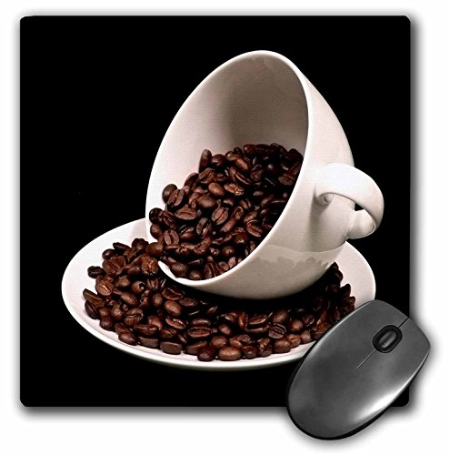 (3dRose Anne Marie Baugh - Photographs - Photograph of A Coffee Cup Full of Coffee Beans Spilling Over - Mousepad (mp_213571_1))
