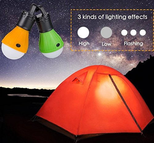 2 Pack Portable LED Lantern Tent Light Bulb for Camping Hiking Fishing Emergency Light, Battery Powered Camping Lamp with 6 AAA Batteries … (1)