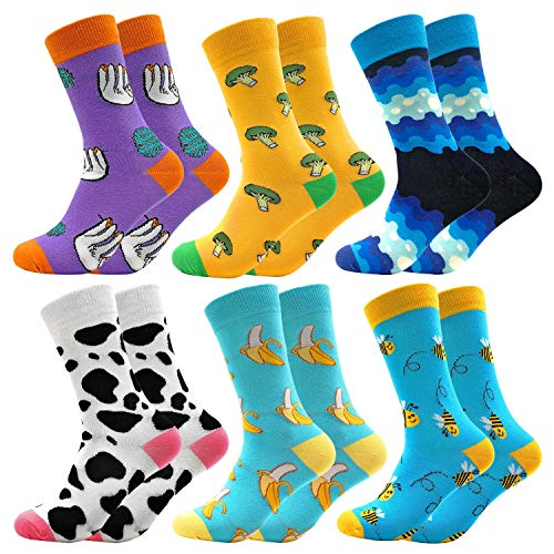 Mid Calf Colorful Socks Casual Combed Cotton Stockings Animal Fruit Sock  Mid Tube Funky Happy Packs Women(606)