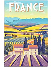 Vintage Travel Poster France Retro Aesthetics Canvas Art Poster Picture Modern Decor Posters Wall Decor Painting Poster60x90cm x1 Ramlös
