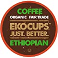 EKOCUPS Artisan Organic Ethiopian Coffee, Medium Roast, in Recyclable Single Serve Cups for Keurig K-cup Brewers, 20 count