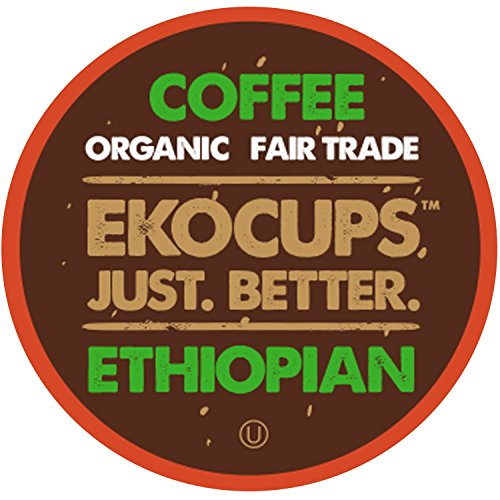 EKOCUPS Artisan Organic Ethiopian Coffee, Medium Roast, in Recyclable Single Serve Cups for Keurig K-cup Brewers, 20 count