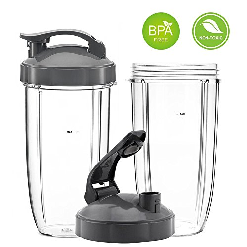 QueenTrade 32OZ Tall Cups & Flip Lids Replacement Set For Nutribullet 600w & 900w Blender Mixer Replacement Accessories Parts
