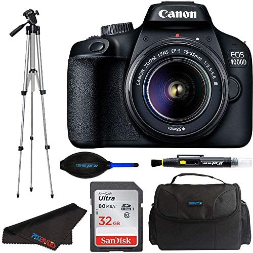 Canon EOS 4000D DSLR Digicam w/Canon EF-S 18-55mm F/3.5-5.6 III Zoom Lens + 50-Inch Tripod + Pixibytes Intermediate Bundle (Worldwide Model)