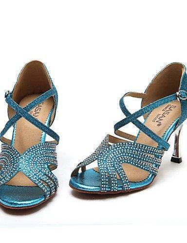 Or Bleu danse de Non Salsa Brillante Flocage Gold ShangYi Paillette Aiguille Latine Talon Personnalisables Chaussures Iqw1FF