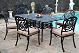 GrandPatioFurniture.com CBM Patio Elisabeth Collection Cast Aluminum 7 Piece Dining Set with A Rectangle Table 6 Arm-Chairs SH226-6A cbm1290 For Sale