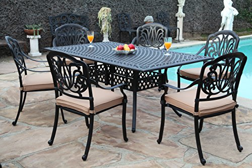 Winston Outdoor Patio Furniture (CBM Patio Elisabeth Collection Cast Aluminum 7 Piece Dining Set with A Rectangle Table 6 Arm-Chairs SH226-6A cbm1290)