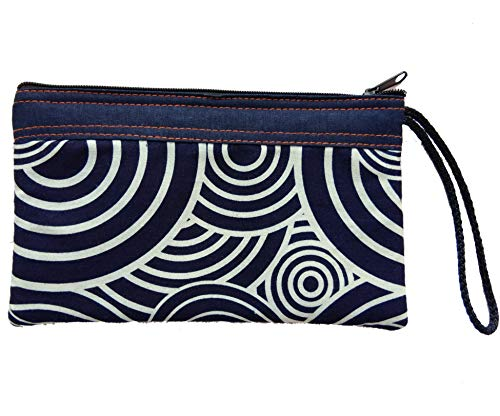 Tribal Vintage Bohemian Blue Navy Gypsy Spiral Swirls Circle Small Cosmetic Makeup Pen Pencil Cotton Fabric Bag Bags Cases Zipper Zip Purse Clutch Pouch Case for Handle Handmade Craft Handbag - Swirl Zipper