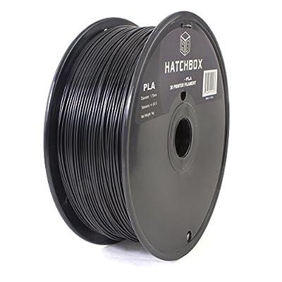 HATCHBOX 3D PLA-1KG1.75-BLK PLA 3D Printer Filament, Dimensional Accuracy +/- 0.05 mm, 1 kg Spool, 1.75 mm, Black