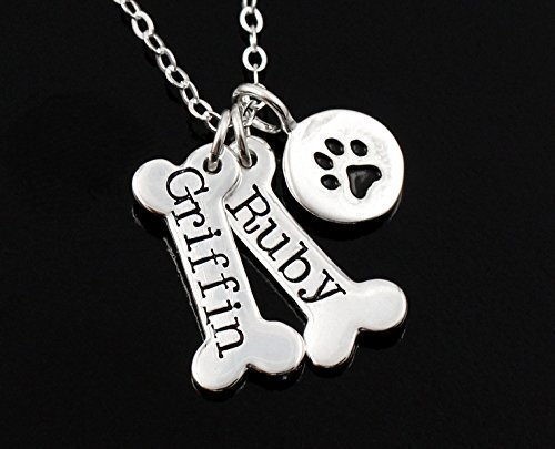 Personalized Dog Necklace . Dog Bone & Dog Paw Print Necklace . Sterling Silver Necklace . Pet Lover Gift (Engraved Sterling Silver Necklace)