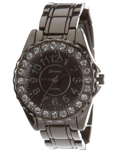 GENEVA PLATINUM Rhinestone Crystal Bezel Watch (Pewter) [6945]