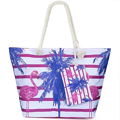 ZWOOS Bolsa de Playa de Lona Mujer Grande Bolso de Mano Shopper Bolsa con Cremallera Flamenco 4
