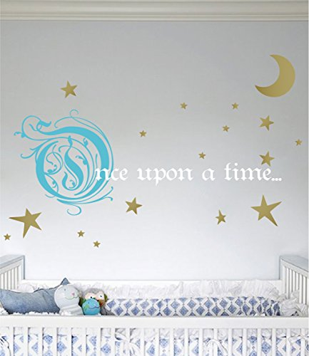 Removeable Vinyl Stickers - Once Upon a Time Story Book Quote Vinyl Wall Decal Removeable Baby Girl Nursery Fairy Tale Design Sticker (Blue, Gold, White, 31x66 inches)
